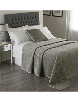 "Riva Paoletti Brooklands Luxury King Size Bedspread   Silver Grey   Velvet Feel Quilt Design   Linen Border   100 Percents Polyester Filling   240 X 250cm (94"" X 98"" Inches) by Riva Paoletti"
