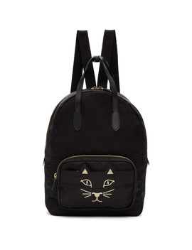 Black Nylon Feline Backpack by Charlotte Olympia