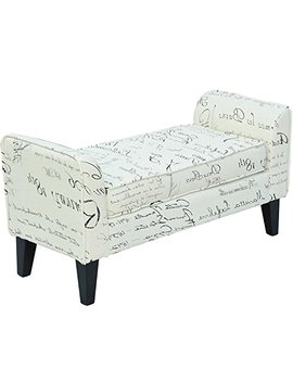 Hom Com 41inches Modern Linen Armed Entryway Bench, Signature Print by Homcom