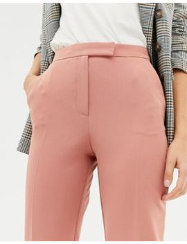 Miss Selfridge Cropped Trousers With Kick Flare In Pink by Miss Selfridge