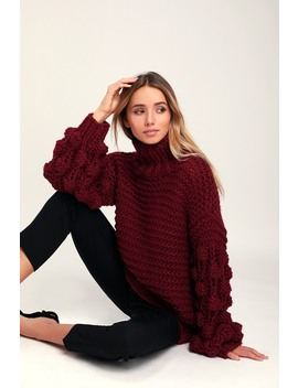 Snuggle Is Real Wine Red Oversized Mock Neck Sweater by Lulus