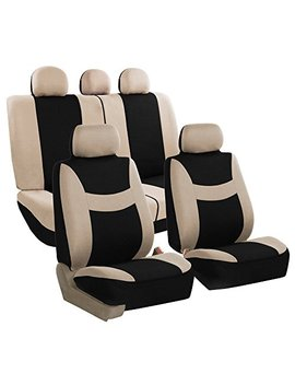 Fh Group Fh Fb030115 Seat Light & Breezy Beige/Black Cloth Seat Cover Set Airbag & Split Ready  Fit Most Car, Truck, Suv, Or Van by Fh Group