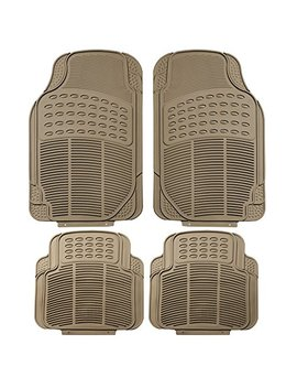Fh Group F11305 Beige Tan All Weather Floor Mat, 4 Piece (Full Set Trimmable Heavy Duty) by Fh Group