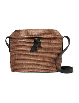 Crossbody Leather Trimmed Woven Sisal Shoulder Bag by Cesta Collective