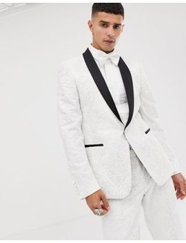 Asos Edition Skinny Tuxedo Suit Jacket In Sequin And Lace Embellished White Sateen by Asos Edition