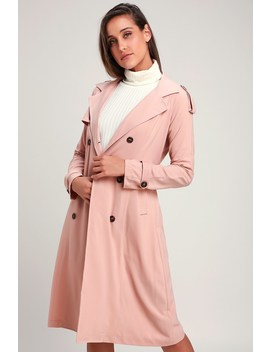 Take A Walk Blush Pink Trench Coat by Lulus