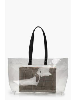 Clear Shopper & Removable Check Clutch by Boohoo