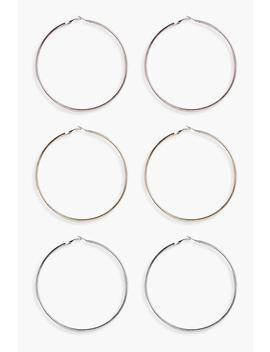 Mixed Metal Hoops 3 Pack by Boohoo