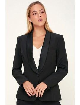 Leanne Black Tuxedo Blazer by Lulus