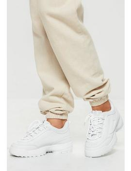 White Chunky Sole Minimal Trainers by Missguided