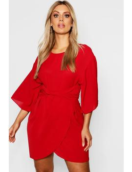 Plus Kimono Sleeve Wrap Dress by Boohoo