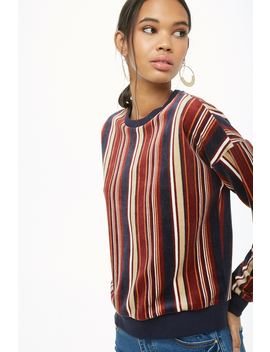 Striped Velour Pullover by Forever 21