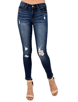 Kan Can Women's Mid Rise Destroyed Skinny Jeans Kc8001 Hrd by Kan Can