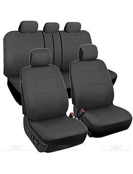Bdk Charcoal Black Car Seat Covers Full 9pc Set   Sleek & Stylish   Split Option Bench 5 Headrests Front & Rear Bench by Bdk