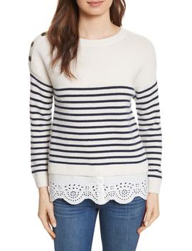 Aefre Woven Trim Wool & Cashmere Sweater by Joie
