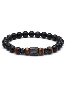 Christmas Gifts Bracelet Men Brass Beads Bracelets Male Tiger Eye Stone Men Jewelry by Baroco