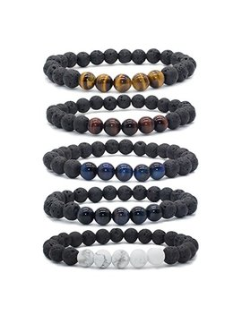 Bivei Natural Lava Rock Stone Essential Oil Diffuser Bracelet Healing Energy Gemstone Mala Jewelry W/5 Tiger Eye Stone/Howlite by Bivei