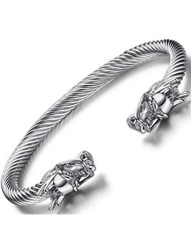 Ostan Men's Double Head Dragon Bracelet Adjustable Stainless Steel Sliver Cuff Cool Polished by Ostan
