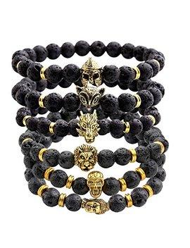 Jovivi Jewelry 6pc Men Women 8mm Mix Style Gold Plated Lion/Wolf/Fox/Sparta Helmet Black Lava Energy Stone Beads Stretch Bracelet by Jovivi