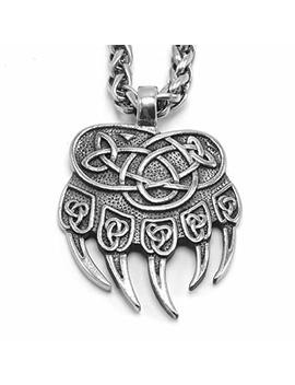 Enxico Celtic Knot Bear Paw Pendant Necklace ♦ 316 L Stainless Steel ♦ Nordic Scandinavian Viking Jewelry by Enxico