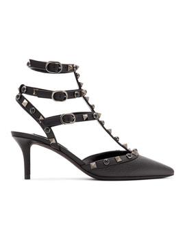 Black Valentino Garavani Onyx Rockstud Cage Heels by Valentino