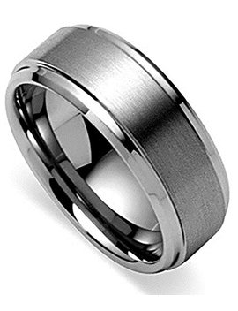 King Will Basic Men's Tungsten Carbide Ring 8mm Polished Beveled Edge Matte Brushed Finish Center Wedding Band by King Will