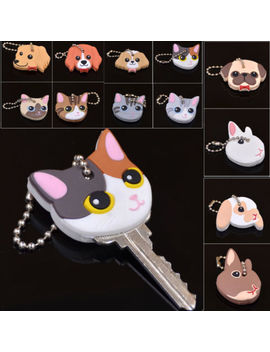 Cute Puppy Pug Cat Rabbit Key Cover Cap Keychain Key Ring Pvc Key Case Unisex by Unbranded