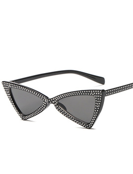 Yooske Diamond Triangle Sunglasses Women Brand Luxury Crystal Cat Eye Sun Glasses Ladies Small Black Glasses Shades by Yooske