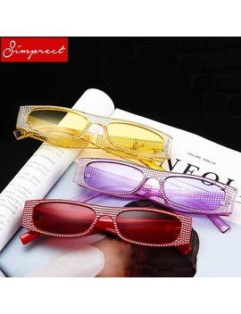 Simprect Retro Small Square Sunglasses Women 2018 Luxury Brand Designer Diamond Sun Glasses Vintage Lunette De Soleil Femme by Simprect