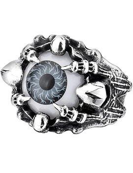 Men's Vintage Gothic Biker Dragon Claw Evil Devil Eye Skull Stainless Steel Ring Grey White Black Silver by Menso