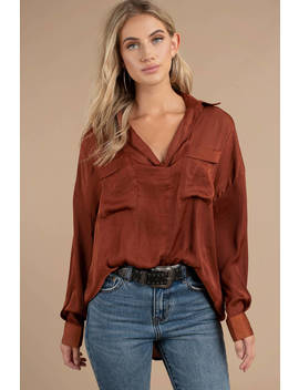 Free People Starry Dreams Brown Pullover Top by Tobi