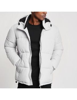 Grey Hooded Puffer Jacket With Funnel Neck by River Island