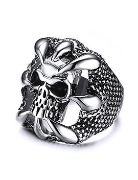 Uokoho Men's Stainless Steel Ring Band Gothic Dragon Claw Design Size 8 9 10 11 12 13 by Uokoho