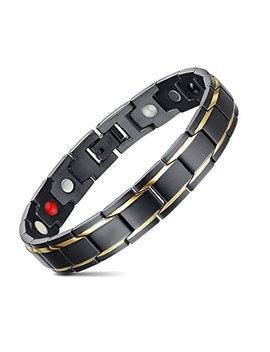 Jfume Mens Link Bracelet Two Tone Stainless Steel Bracelet Magnetic Gold Black Bracelet 8.3inches by Jfume
