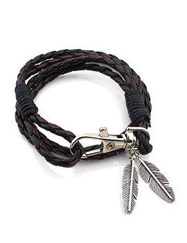 Erawan Fashion Leather Wrap Braided Wristband Cuff Punk Men Women Bangle Bracelet Gift Ew Sakcharn (Black+Coffee) by Erawan