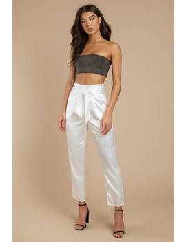 Cate Ivory Satin Trouser by Tobi