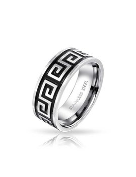 Bling Jewelry Greek Key Band Mens Stainless Steel Ring by Bling+Jewelry