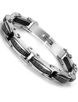 Industrial Greek Pattern 316 L Stainless Steel Link Cuff Bracelet For Men (Black, Silver) by Urban Jewelry