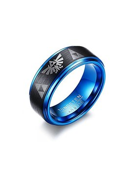 Mp 8mm Men's Tungsten Carbide The Legend Of Zelda Triforce Ring Matte Finished,Black Blue by Mp Rainbow Ring