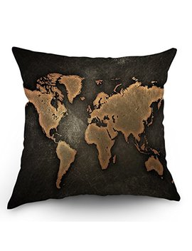 "Moslion World Map Pillow Case Decor By Vintage Map On Black Background Throw Pillow Case 18"" X 18"" Inch Cotton Linen Cushion Cover For Men Women Kids Brown Black by Moslion"