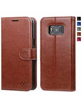 Ocase Samsung Galaxy S8 Case, Premium Leather Flip Wallet Case With [Card Slots] [Kickstand Feature] [Magnetic Closure] For Samsung Galaxy S8 Devices (5.8 Inch)   Brown by Ocase