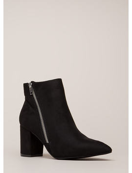 Zip Line Chunky Faux Suede Booties by Go Jane