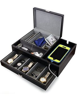 Houndsbay Admiral Dresser Valet Box & Mens Jewelry Box Organizer With Large Smartphone Charging Station (Grey) by Houndsbay