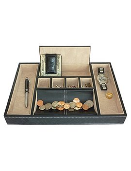 Black Leatherette Valet Tray Desk Dresser Drawer Coin Case Catch All For Keys, Phone, Jewelry, Watches, And Accessories By Timely Buys by Timely Buys