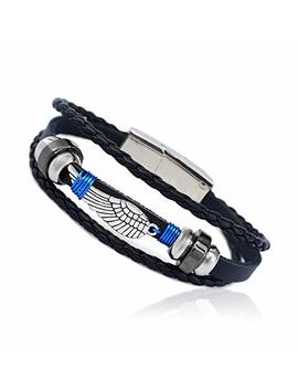 "Eagle Wing Feather Wire Wrapped Vintage Genuine Leather 3 Strand Unisex Bracelet 8.2"" Alloy New Magnetic Clasp Hematite Stunning Wristband Fashion Cuff For Men Women, Stylish 3 Tier Comfort Fit Band by Amazon"