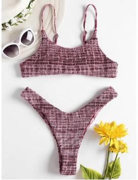 Tie Dye Smocked High Leg Bikini   Multi M by Zaful