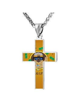Patriotic Cross Pug Gangster Religious Lord's Prayer Jewelry Pendant Necklace by Kenlove87