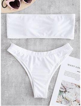 Textured Bandeau Bikini Swimwear   White S by Zaful