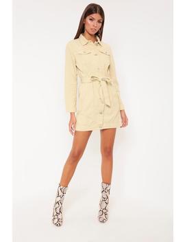 Cream Denim Jacket Style Mini Dress by I Saw It First