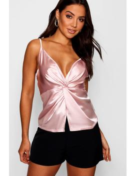 Beth Knot Front Satin Cami Top by Boohoo